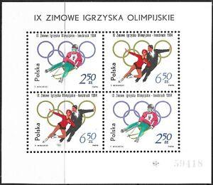 STAMPS-POLAND. 1964. Innsbruck Winter Olympics Miniature Sheet. SG: MS1450a. MNH