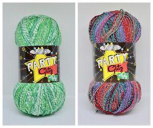 King Cole Party Glitz Christmas Sock Sparkle Acrylic 4 Ply Knitting Yarn 100gr