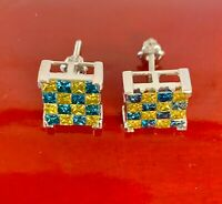 14K White Gold Natural Yellow Blue Princess Invisible Diamond 1.96Ct Earrings