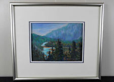 Banff Canada original pastel chalk painting signed Lory ? Rocky Mountains river