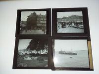 Lot de 4 vues N&B / KODAK + bateau guerre Condé - PLAQUES VERRE + boite VITRA