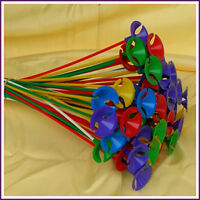 Lot of 100 Pcs Green Red Yellow Blue Pink Balloon Sticks with Multicolor Cups
