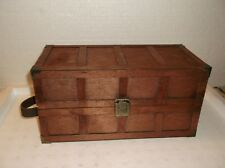 VINTAGE WOOD WARDROBE DOLL TRUNK--WITH DOLL