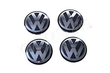Genuine VW Beetle Golf UP! Fox Polo Jetta Hub Cap Logos 4 Pcs 56mm 1J0601171XRW