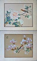 Asian Watercolor on Silk Art, Oriental Painting on Silk, Wild Bird on the Flower