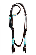 Western Dark Oil One Ear Style Rawhide Braided Headstall with Tassel