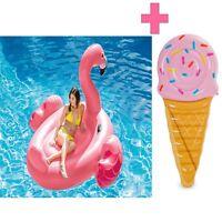 Badeinsel Flamingo + Luftmatratze Eistüte Schwimminsel Wasserliege pink Intex