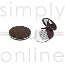 Girls Oreo Style Chocolate Cookie Compact Mirror & Comb Set