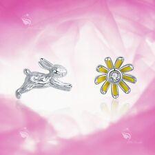 925 Silver Earrings Simulated Diamond Rabbit Bunny Flower Daisy Stud Kids Baby