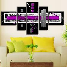Frame Abstract Wall Art Black Purple Modern Canvas Print Painting HomeDecor 5PCS