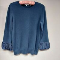 Vince Womens Crew Neck Knit Pullover Lightweight Sweater 3/4 Sleeve Blue Large