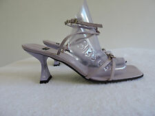 CASADEI ITALY LILAC LEATHER OPEN TOE ANKLE STRAP SANDAL HEELS SZ 6.5