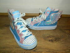 Skechers Twinkle Toes limited edition blue/pink high top shoes uk 11 eur 28.5