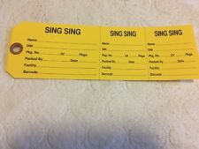 AUTHENTIC INMATE PROPERTY TRANSFER TAG FROM SING SING PRISON