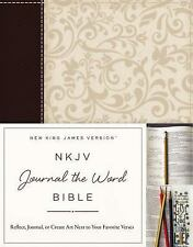 Thomas Nelson NKJV Journal Bible (2016, Paperback) Brown/Cream Linen Leathersoft