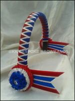 """Red White and Royal Blue Show Velvet Browband pony/cob/full size 3/4"""" OR 1"""" wide"""