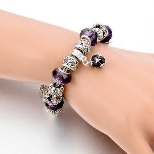 Truly Beautiful NEW Charm Bracelet/Bangle~PURPLE~Crystal/Bead Chain~W/Gift Bag