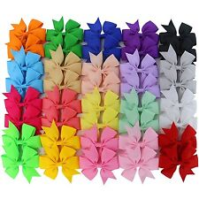"20 Pair Baby Girl 3"" Grosgrain Ribbon Boutique Hair Bows Alligator Clip 40 Color"