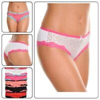 6 pack Angelina Women's  Bikini  Panties with contrast trim  Underwear Panties