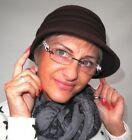 PETIT élégant chapeau pour femmes en laine brun foncé Bonnet