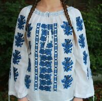 Embroidered Peasant Blouse Romanian Flower Chemise Vintage Boho Hippie White Top