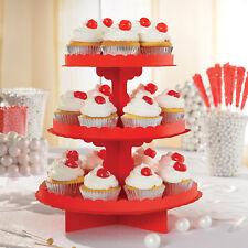 Rojo Soporte Cupcakes Cartón Comida para Servir Nivel 3 Bufé de Tarta