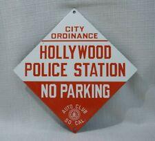 VINTAGE HOLLYWOOD POLICE PORCELAIN SIGN GAS MOTOR OIL STATION RARE PUMP PLATE