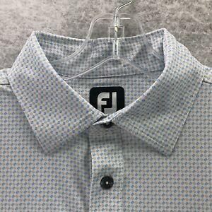 FootJoy 'Blackwolf Run' Blue Yellow White Geometric Short Sleeve Polo Shirt M