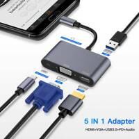 TypeC Adapter 5-in1 3 USB Type C Hub to HDMI VGA 3.5mm Jack USB Adapters TypeC c