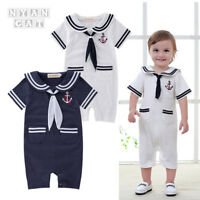 Kids Baby Boys Girls Sailor Costume Suit Dress Romper Clothes Set Outfits 0-18M