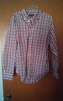 016 Men's Lands End Red Checks Plaid Button Front 16-35 Long Sleeve Shirt