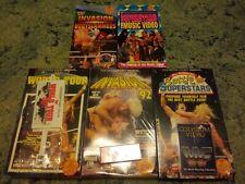 Lot of 5 WWF WWE 90's VHS Coliseum Videos Factory Sealed Flair Hogan Warrior HBK