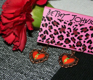 Betsey Johnson ~ Red Heart Gold Tone Wire Dangle Earrings ~ New ~ GO #2