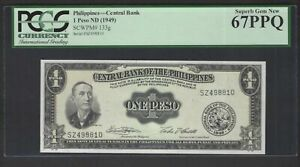 Philippines One Peso ND(1949) P133g Uncirculated Grade 67