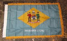 3x5 Delaware State Poly Nylon Sleeve w/ Gold Fringe Flag 3'x5' Banner