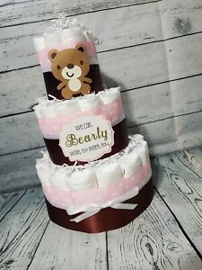 3 Tier Diaper Cake - Teddy Bear Theme Diaper Cake Pink and Brown with White
