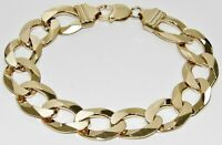 9CT YELLOW GOLD ON SILVER MENS BRACELET CURB - HEAVY CHUNKY 9 INCH 16mm