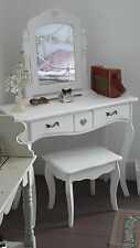 White Dressing Table Swing Mirror on Stand & Stool Girls Chic Bedroom Furniture