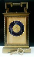 Large Brass Antique Repeater Carriage Clock with Blue Enamel Dial