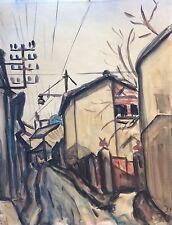 Grande aquarelle sur papier expressionniste expressionnisme paysage signé A H ?