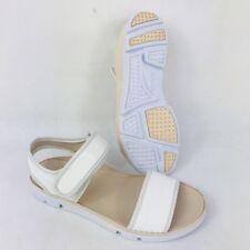 Clarks Narrative 'Tri Nova' White Comfy Ankle Mock Croc Strap Sandals Size UK 3D