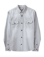 Mens Button Down Shirts Casual Western Slim Fit Long Sleeve Shirt Denim Pockets