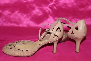 NINE WEST cream leather summer shoes sandals heels size 8W