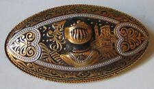 ANCIENNE BROCHE OR DE TOLEDE heaume armure casque chevalier médiéval gladiateur.