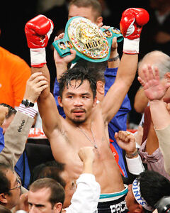 Boxing World Champion MANNY PACMAN PACQUIAO 8x10 Photo With Belt Print Poster