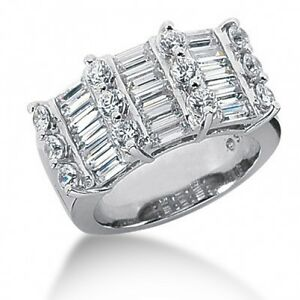 4.40 Carats Baguette and Round Cut Diamond Anniversary Band in 14K White Gold