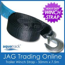 7.5M x 50mm HEAVY DUTY BOAT TRAILER WINCH WEBBING STRAP & SNAP HOOK  AS/NZS 4380