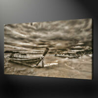 SEPIA STORM BOATS BEACH CANVAS PRINT ART WALL DESIGN READY TO HANG