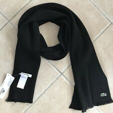 Scarf LACOSTE Man Wool Black New Authentic a342b86818e