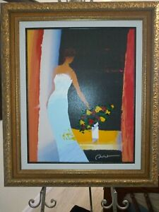 Emile Bellet Elegance Giclee in color with hand embellishment on canvas signed